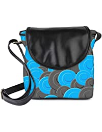 Snoogg Blue Grey Pattern Womens Sling Bag Small Size Tote Bag