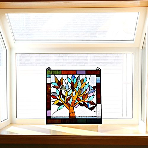 "River of Goods 15042 Tiffany Style Stained Glass Mystical World Tree Window Panel 18"" H 4"