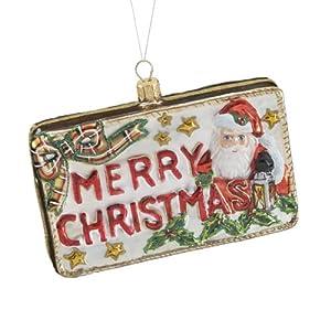 Kurt Adler 3.74-Inch Polonaise Glass Merry Christmas Postcard Ornament