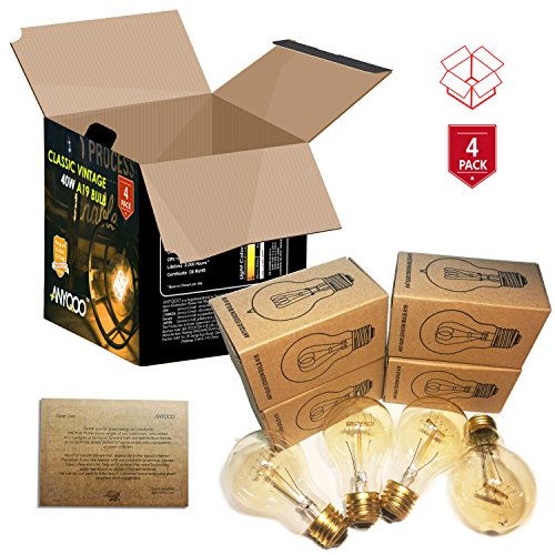 ANYQOO Victorian Vintage Edison Bulb 40W A19 Dimmable Spiral Filament Incandescent Lamp for Decorative Pack of 4 5