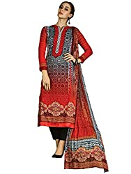 Inddus Red & Grey Printed Cotton Salwar Kameez