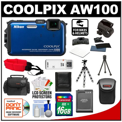 Nikon Coolpix AW100 Shock & Waterproof GPS Digital Camera (Blue) with 16GB Card + Handlebar & Helmet Mount + Battery + Case + Floating Strap + Tripod + Kit