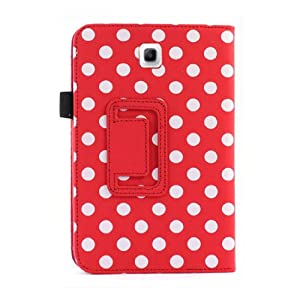 "Sannysis 1PC Best Polka Dot Leather Case Cover Stand For Samsung Galaxy Tab 3 7.0"" 7"" Tablet P3200(Red) by sannysis"
