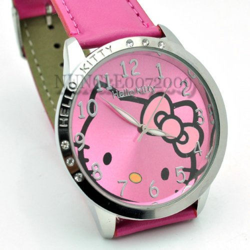 Miss Peggy Jos   Classic Hello Kitty Round Shape Quartz Watch bezel Is About the Size of a Silver Dollar   ***Comes with a Hello Kitty Necklace***