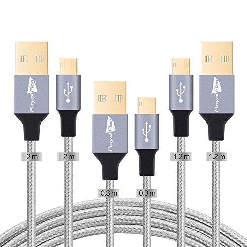 Nylon Cavo Micro USB Android Cellulare 3 Pack Royal Flag Cavi Micro USB Trasmissione Dati e Ricarica Rapida per Samsung Galaxy,Huawei,Motorola,Nokia,HTC,Asus e altro [Pack di 3:1,2m*1+2m*1+0,3m *1]