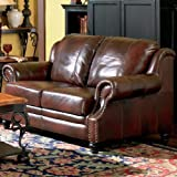 Classic Tri Tone Leather Loveseat