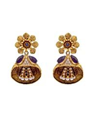 ANTIQUE GOLDEN STONE STUDDED FLOWER STYLE EARRINGS/HANGINGS (SAPPHIRE) - PCAE2205
