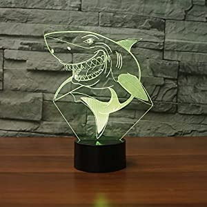 HPBN8 Creative 3D Shark Night Light USB Power Touch Switch LED Decor Table Desk Optical Illusion Lamps 7 Colors Changing Lights Xmas Brithday Children Kids Toy (Color: Shark 01)