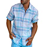 Miami Plaid Blue short sleeve linen shirt.