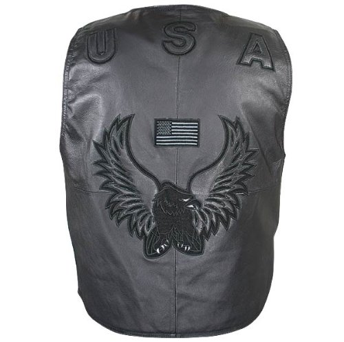 Men's American Eagle USA Black Leather Vest