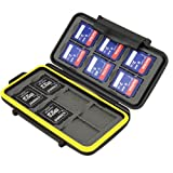 JJC MC-SD12 Water-Resistant Holder Storage Memory Card Case for 12 SD Cards (Black)