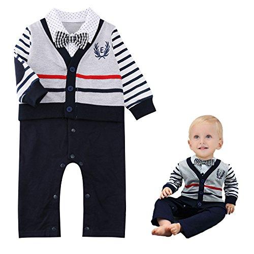 Baby Boy Romper Suits Bow Tie Baptism Party Tuxedo Jumpsuit Gentleman Onesie