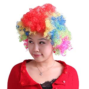 HDE Neon Candy Color Afro Curly Clown Team Fanatic Halloween Costume Party Wig (Rainbow)