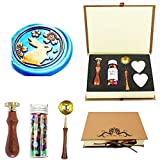 YGHM Rabbit Sakura Flower Wax Seal Stamp Kit Gift Book Box Rosewood Handle Wax Beads Melting Spoon Set,Wedding Invitations Letters Seal Stamp (Color: Paper Box Wood Handle Set)