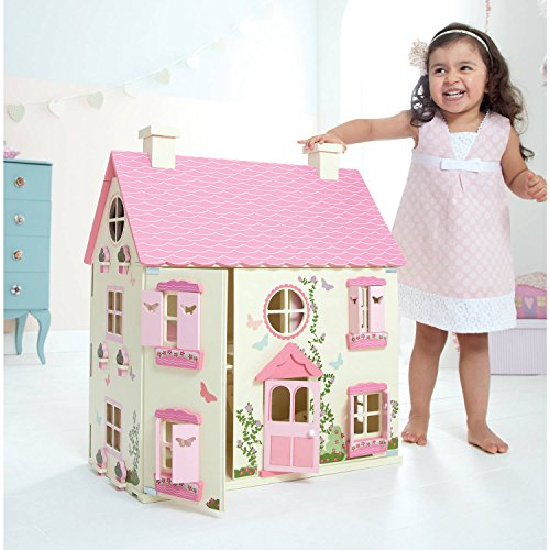 NEW! Huge 3 Floors Wooden Doll House for Kids in Color Pink with Magnetic Door Open and Close, Floral and Butterfly Design, Pretend Play