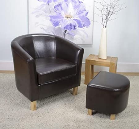 Bath bonded leather armchair tub chair set with stool brown