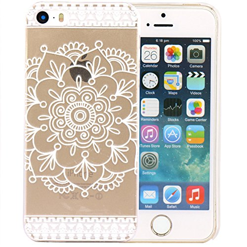 JIAXIUFEN Custodia Cover Case Ultra Slim Hard Plastica Custodia Protettiva Case Cover per Apple iPhone 5 5S -Henna Mayan Aztec Tribal Mandragora Flower
