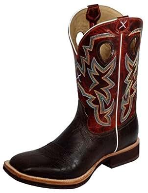 Twisted X Men's Horseman Cowboy Boot Square Toe Chocolate US