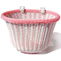 Colorbasket Adult Front Handlebar Bike Basket, White with Pink Trim sale off 2015