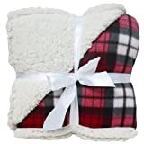 J & M Home Fashions Winter Plaid Sherpa Fleece Blanket, 50 by 60-Inch, Raspberry