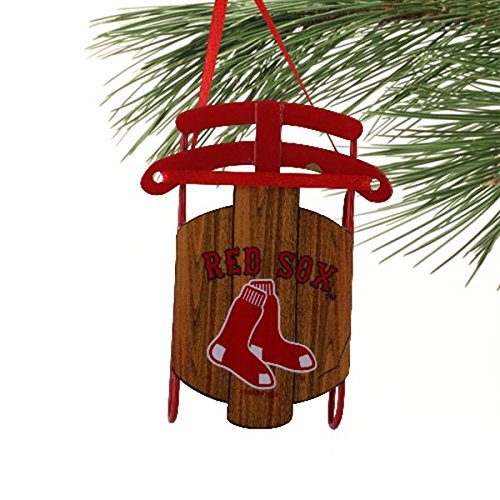 Boston Red Sox Official MLB 3.5 inch Metal Sled Christmas Ornament