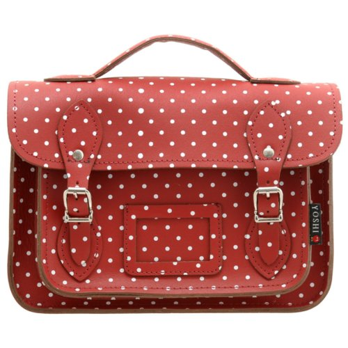 """10.5"""" Small Leather Satchel Bag In Red With Polka Dots By Yoshi . Satchels"""