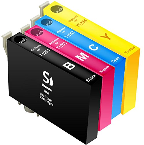 Sherman Inks and Toner Cartridges ® Epson 125 4 Pack Ink Cartridge Replacement Set 1 Black, 1 Cyan, 1 Magenta, 1 Yellow For Printers Stylus NX125, Stylus NX127, Stylus NX230, Stylus NX420, Stylus NX625, WorkForce 320, WorkForce 323, WorkForce 325, WorkForce 520 T125120 / T1251, T125220 / T1252, T125320 / T1253, T125420 / T1254