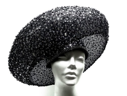 Jet Black Paillette Hat Haute Couture Stella
