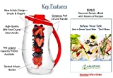 Fruit Infusion Pitcher | Gorgeous Large 3.2 Quart Capacity Water Infuser Pitcher & BONUS Gourmet Recipe eBook | Enjoy Endless Infused Creations