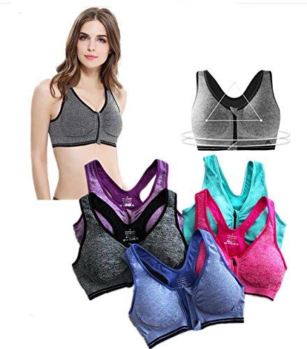 BRABIC Women's High Impact Sport Bra With Front Zipper (36B, GreyBluePurpleGreen)