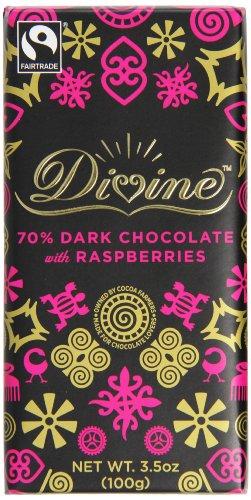 Divine Chocolate Bar, Dark Chocolate with Raspberries, 3.5 Ounce (Pack of 10)