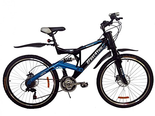 26' Zoll Full Suspension Mountainbike Maniac Fully MTB, Farben:schwarz-blau