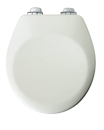 BEMIS Bathroom Round Bowl Closed Front Toilet Seat Lid Cover White Metal Hinges