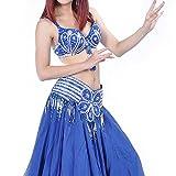 BellyLady Belly Dance Professional Costume Set, Tribal Floral Bra and Belt BLUE