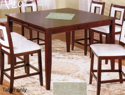 Cheap Counter Height Table with Glass Top in Red Mahogany Finish (VF_AM17080)