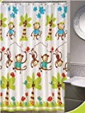 Daniels Bath and Beyond Monkey Jump Shower Curtain Set with Hooks