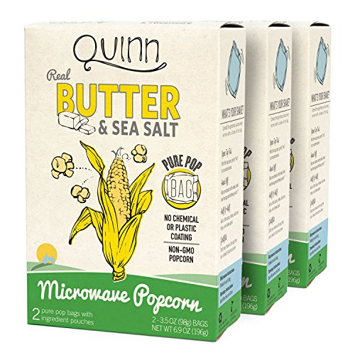 Quinn Popcorn Microwave Popcorn - Made with Organic Non-GMO Corn - Great Snack Food for Movie Night {Butter & Sea Salt, 3 Boxes} (Gourmet Popcorn Microwave compare prices)