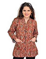Exotic India Auburn-Brown Printed Reversible Jacket From Pilkhuwa With S - Brown