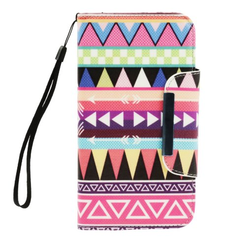 Miniturtle, Beautiful Decorative Flip Cover Pu Leather Wallet Phone Case With Credit Card Slots And Lcd Screen Protector Film For Android Smartphone Samsung Galaxy Mega 6.3 (Tribal Pink)