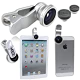 Meiego Universal 3 in 1 Clip Fisheye Lens + Wide Angle Lens + Macro Lens with case for iPhone 5 4S 4 iPod Touch iPad Samsung Galaxy S3 S4 Smart Phone PC