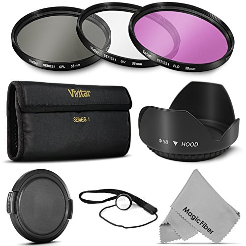 58MM Professional Lens Filter Accessory Kit (Vivitar Filter Kit (UV, CPL, FLD) + Carry Pouch + Tulip Lens Hood + Snap-On Lens Cap w/ Cap Keeper Leash + MagicFiber Microfiber Lens Cleaning Cloth) (Goja Filter Kit compare prices)
