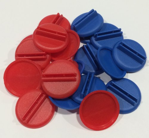 Plastic Card Stand (Red & Blue) to Hold up Playing Cards or Cardboard Marker Cut-outs: Set of 20 Red & Blue Color Round Board Game Playing Pieces (School Classroom Supplies, Arts & Crafts Projects, Teaching & Education Toy Resource Components, Extra Instructional Play Materials)