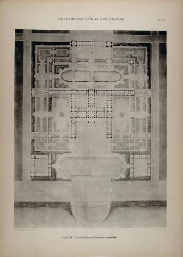 1902 Print Guillaume Architecture Palace Floor Plan - Original Print