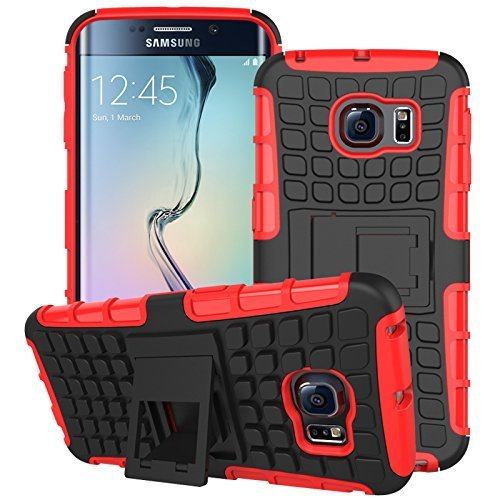 S6 Edge Case, for Samsung Galaxy S6 Edge Case, [Tyre Pattern] Tough Armor Case Double-Deck Layer Protection Hybrid Case Stand Cover [Sure Grip] Shock Drop Impact Proof Cover (Free Gifts: 1x Stylus+1x Screen Protector)(Red)