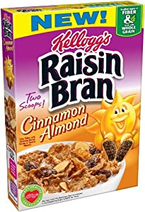 Kellogg's Raisin Bran Cereals, Cinnamon and Almond, 14.5-Ounce (Pack of 4)