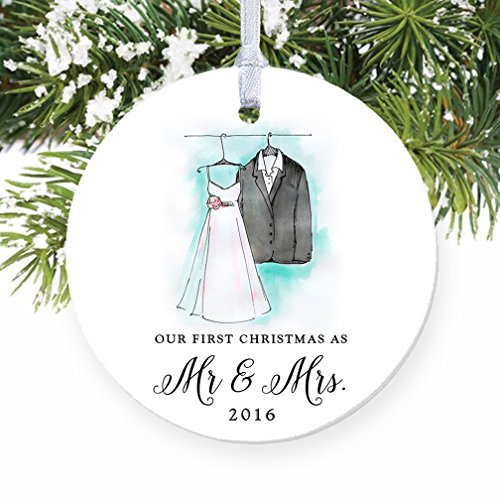 Our First Christmas as Mr & Mrs Ornament 2016, Wedding Gift Porcelain Ornament, 1st Married Christmas, 3