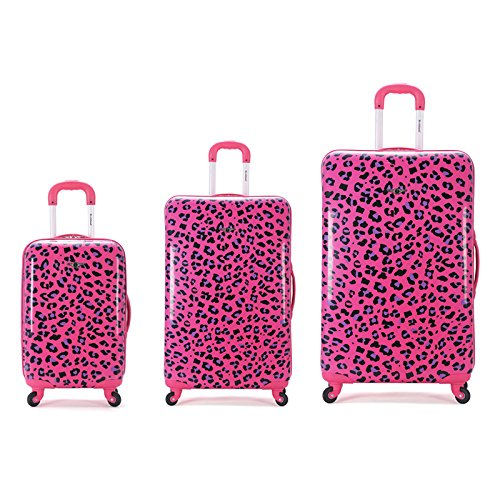 Rockland 3 Piece Upright Set, Magenta Leopard, One Size