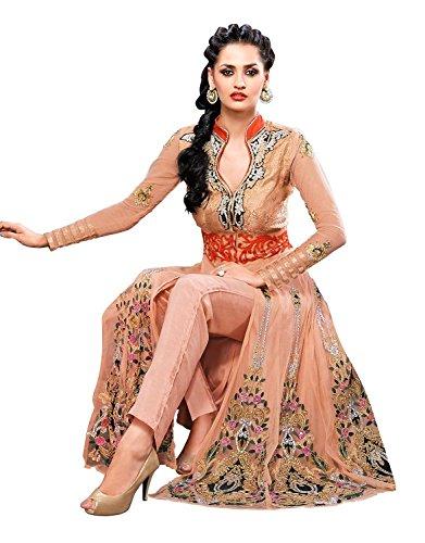 Anarkali Salwar Kameez Designer Indian Bollywood Ethnic Bridal Wedding (Unstitched, Beige)