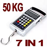 Digital Luggage Weighing Hanging Scale,Digital Portable Luggage Scale Baggage Scale Suitcase Weigh Scale with Measuring Tape Fish Scale Fishing Scale Parcel Scale 50KG Precision Scale = No More Excess Baggage Charges