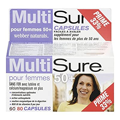 Webber Naturals MultiSure Easy Swallow Multivitamin Capsule for 50+ Women (Packaging may Vary)